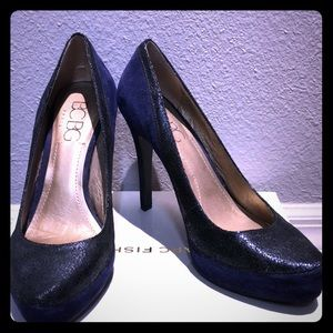 BCBG blue and black pumps.